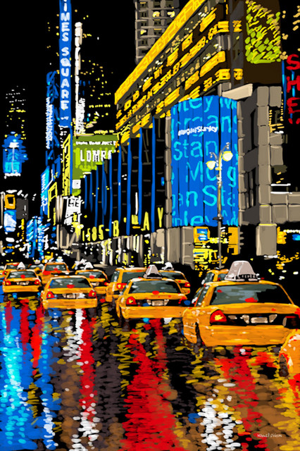 maxwell dickson rainy nights times square new york canvas print artwork modern prints and. Black Bedroom Furniture Sets. Home Design Ideas