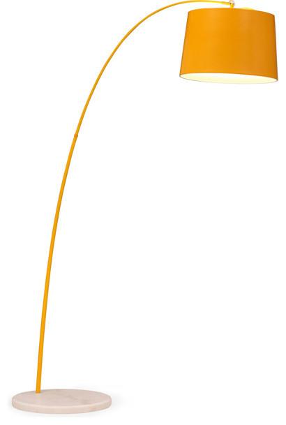 Twisty Floor Lamp Yellow W White Base Modern Floor