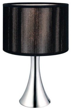 Black bedside lamps fabienne 12 1 2 in chrome table lamp for Bedside table lamp shades