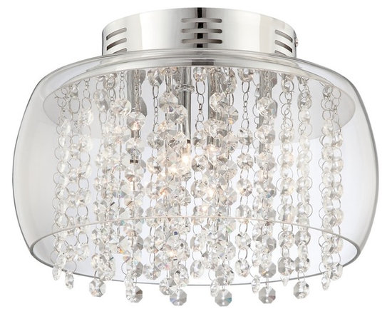 """Possini Euro Design - Possini Crystal Rainfall Glass Drum 11"""" Wide Ceiling Light - A clear glass drum casing makes cleaning this ceiling light easy while allowing a full view of its shimmering optical effect. Clear crystal is interspersed in strings with slender rings for a glittering rainfall effect as the light of four halogen bulbs create sparkle. Chrome finish. Clear glass drum. Clear crystal. Includes four 20 watt G4 halogen bulbs. 11"""" wide. 7"""" high.  Chrome finish.   Clear glass drum.   Clear crystal.   Comes with 39 strings of crystals.  By Possini Euro Design.  Includes four 20 watt G4 halogen bulbs.   11"""" wide.   7"""" high."""