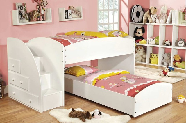 White Wood Storage Twin Twin Loft Bunk Beds Stairs Drawers