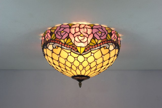ceiling lighting stained glass tiffany style flush mount. Black Bedroom Furniture Sets. Home Design Ideas