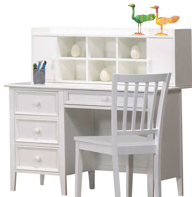 desk with hutch and chair in white traditional home office accessories