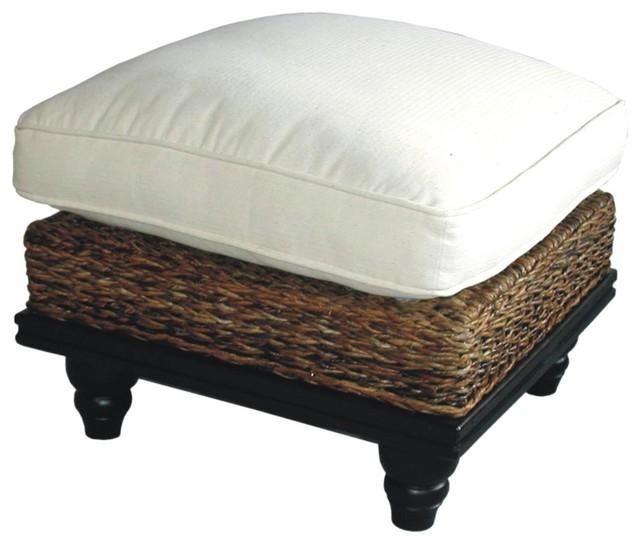 Astor Tropical Woven Abaca Cushion Ottoman W Mahogany Base