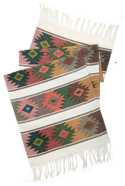 Mayan Table Runner in Neutral eclectic table linens
