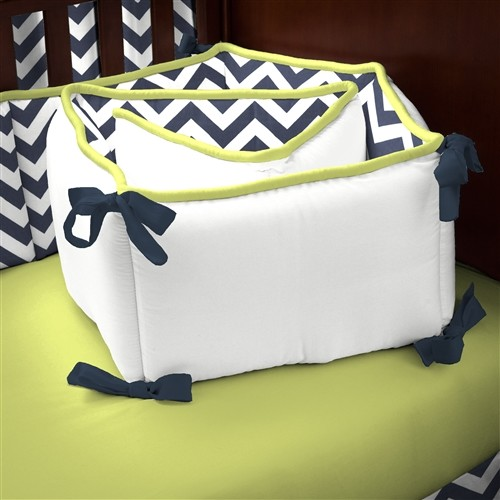 Navy and Citron Zig Zag Crib Bumper contemporary-kids