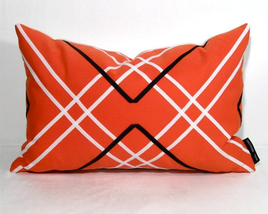 Melon Akademik Outdoor Decor Cushion - Decorative melon hued pillow crafted from Sunbrella outdoor fabric with a black and white lattice design that is so popular now in Interiors! Melon, coral, cantaloupe? Whatever name you choose, it's just delicious! With Sunbrella's washable and colorfast properties, this modern accent is perfect not only for the boat or poolside but any stylish space, indoors or out, where low maintenance decor is a must.