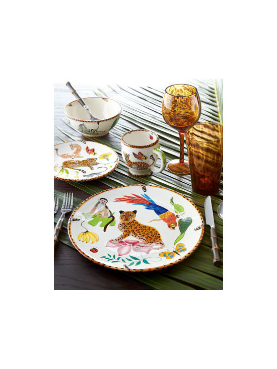 "Lynn Chase Designs - Lynn Chase Designs 16-Piece ""Jungle Jubilee"" Dinnerware Service - Whether at your vacation retreat or everyday home, wildlife dinnerware creates an adventure. A multicolor jungle motif adorns this dinnerware from Lynn Chase. Handcrafted earthenware. Dishwasher and microwave safe. Service for 16 includes four four-p..."