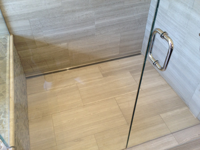 Travertine Strip Drain - North Vancouver Barrier Free Shower traditional bathroom