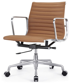 M341 Eames Style Aluminum Group Office Chair In Brown Leather Modern Task