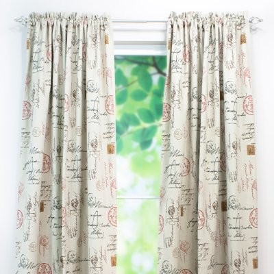 Chooty and Co Postale Charcoal Rod Pocket Curtain Panel modern-curtains