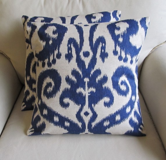 Ikat Pillow Covers, Indigo Blue by Yiayias - Eclectic - Decorative Pillows - by Etsy