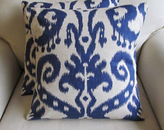 Ikat Pillow Covers, Indigo Blue by Yiayias eclectic pillows