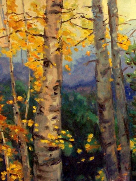 "Living Room - A signature aspen tree piece - 24"" square, oil on canvas. , paintings on canvas , contemporary oil paintings"