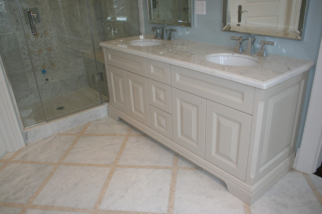 Ensuite transitional-vanity-tops-and-side-splashes
