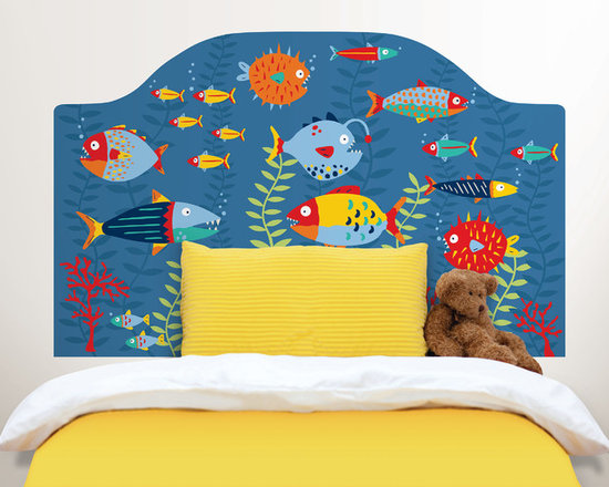 Headboards - This fish themed headboard decal is super cute for kids décor. An underwater scene of colorful fish gives your child's room the stylish look of a custom headboard, but with the ease of a peel and stick decal.