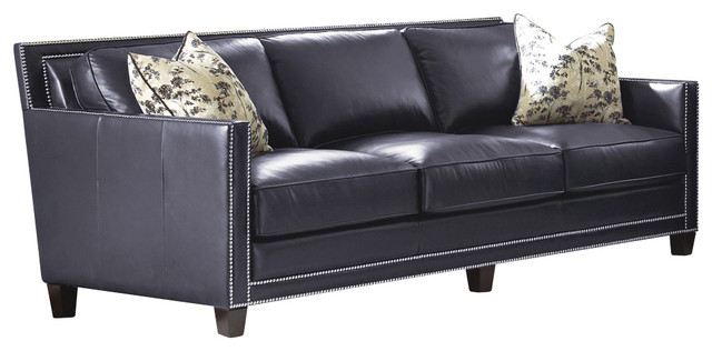 Steve Silver Hendrix Sofa W 2 Accent Pillows In Navy Blue