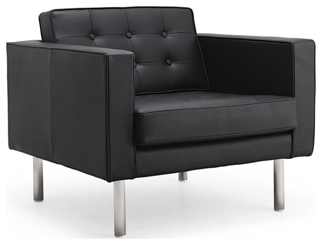 Chelsea black leather easy chair modern armchairs and for Contemporary black leather chairs