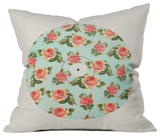 Allyson Johnson Floral Vinyl Outdoor Throw Pillow contemporary-outdoor-cushions-and-pillows