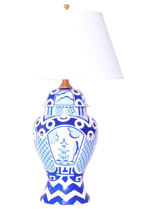 Summer Palace Ginger Jar Lamp in Blue - This charming yet exotic lamp will add a stylish and intriguing touch to any interior. With its rich hand painted tole exterior and punchy blue and white color palette, this lamp will be the focal point in any living room, bedroom or entryway.