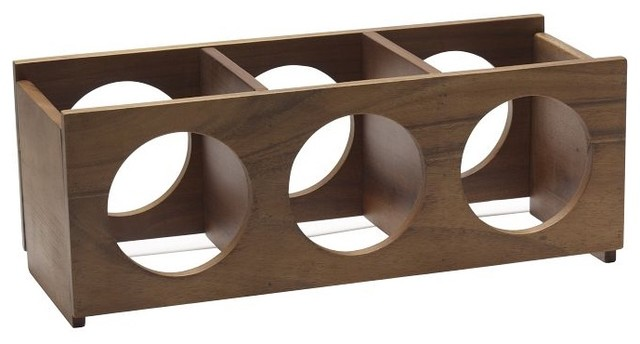 Wooden Wine 3-Bottle Rack - Modern - Wine Racks - by West Elm
