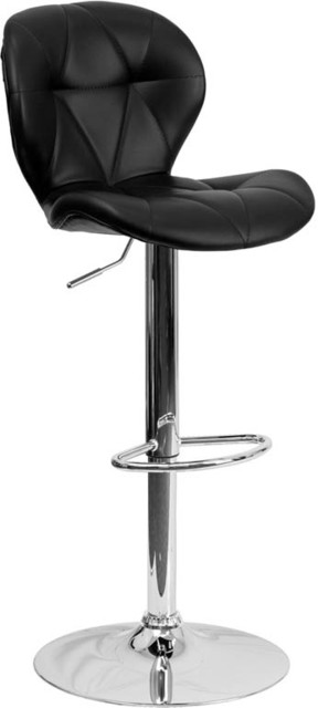 Contemporary Tufted Black Vinyl Adjustable Bar Stool with Chrome Base contemporary-bar-stools-and-counter-stools