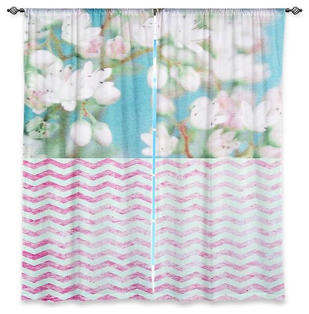 Window Curtains Lined - Iris Lehnhardt Floral Chevron modern-curtains