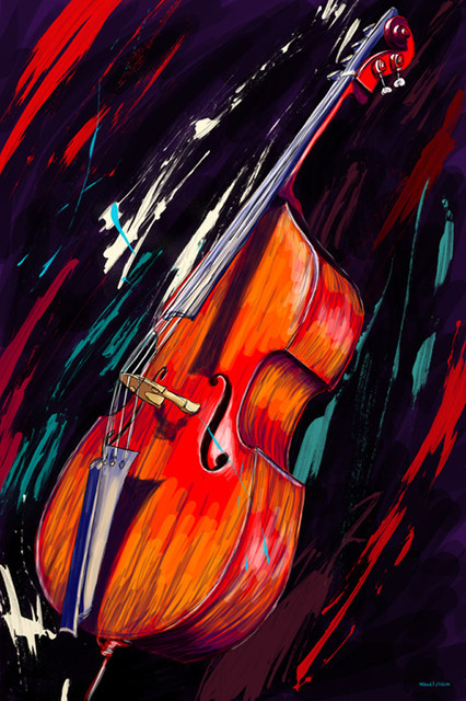 """Maxwell Dickson """"Double Bass"""" Music Canvas Artwork Wall Art Print - Modern - Prints And Posters ..."""