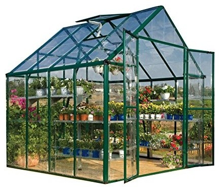 Palram Snap & Grow 8' x 8' Hobby Greenhouse - Green contemporary-greenhouses