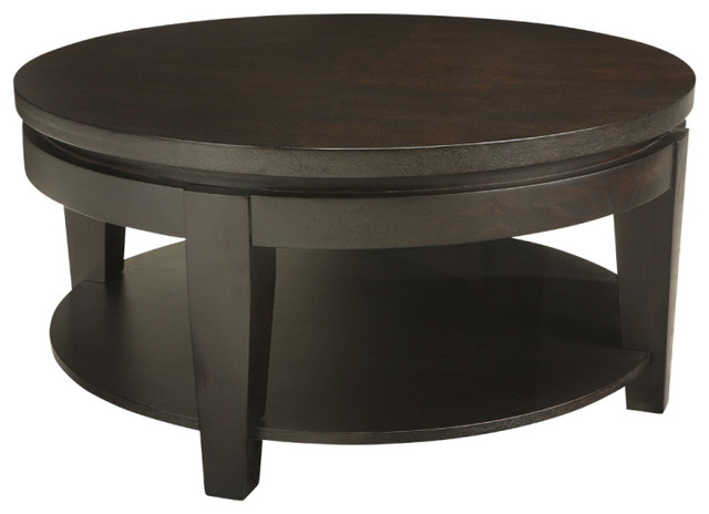 Asia round coffee table espresso contemporary coffee for Round contemporary coffee table