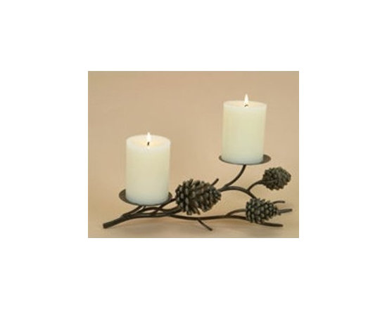 Pinecone Lodge Rustic Candle Pillar for 2 Candles, Home Decor -
