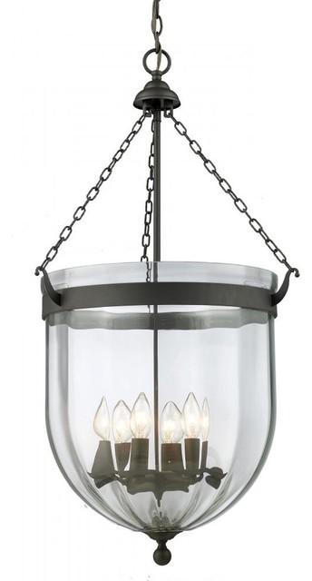 Traditional Foyer Lighting : Six light bronze clear glass foyer hall pendant