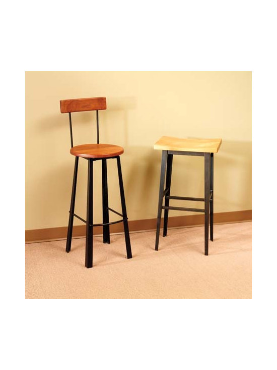 NEO-ASIAN HIGH BACK BAR STOOL AND MANHATTAN BARSTOOL - Arts & Crafts and Asian influences inspired the birth of the Neo-Asian barstool. With its tapered legs and flared feet, crisp lines and contemporary look, it is sure to be a show stopper in any room.
