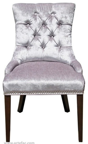 Accent Tufted Fabric Dining Chair With Silver Nailheads
