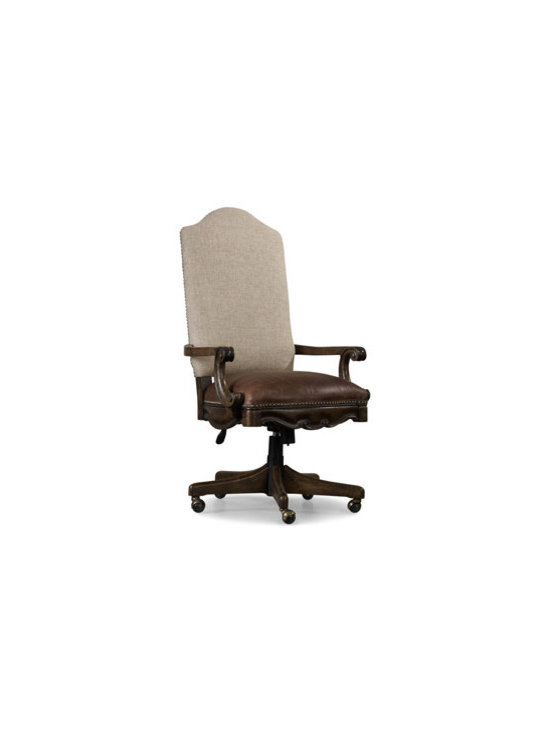 Tilt Swivel Chair 5070-30220 - Tilt swivel; pneumatic gas lift; casters; leather seat and fabric back.