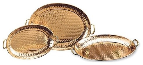 Hammered Copper 3-Piece Oval Serving Tray Set modern-platters