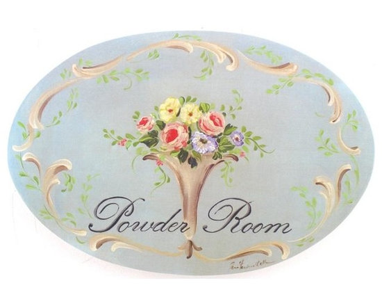 """Stupell Industries - Blue Floral Powder Room Bath Plaque - Decorative and fuctional. Made in USA. MDF Fiberboard. Original Stupell art. Approx. 11 in. W x 15 in. L. 0.5 in. ThickWhat better way to add class to your bath than with a wall plaque by from """"The Stupell Home decor Collection."""" Whether it is the black and white """"la toilette,"""" the black oval """"powder room,"""" or the rectangle crest """"le bain,"""" one thing stays the same: each plaque is hand finished, made in the USA, and comes with colorful grosgrain ribbon for hanging. Bath plaques from """"The Stupell Home decor Collection"""" are meticulously crafted by a variety of in-house artists and come on ½"""" thick MDF fiberboard."""