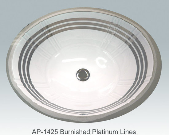 "Hand Painted Gold & Patinum Undermounts by Atlantis Porcelain Art - ""BURNISHED PLATINUM LINES"" Shown on AP-1425 white Antigua medium undermount 17""x14""available on bright gold or platinum and burnished gold or platinum."