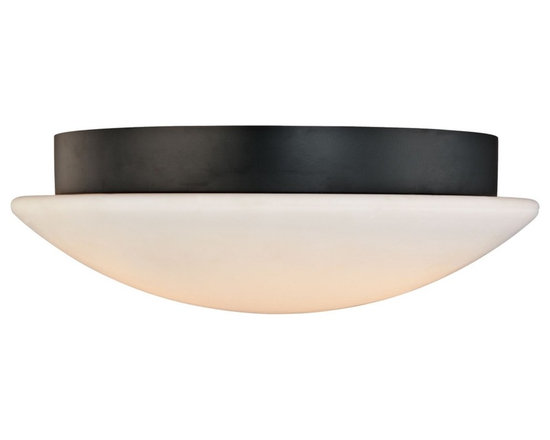 """Sonneman - Sonneman Moderno Mushroom 18"""" Ceiling Light Fixture - A mushroom of light is all we see from below. From the side we have a band of classic black. By Sonneman. Satin black finish. White opal frosted glass. Takes three 60 watt medium base bulbs (not included). 6"""" high. 18"""" diameter. Shade is 4"""" high 18"""" diameter. Canopy has 15 1/2"""" diameter.  Satin black finish.  White opal frosted glass.  Takes three 60 watt medium base bulbs (not included).  6"""" high.  18"""" diameter.  Canopy has 15 1/2"""" diameter."""