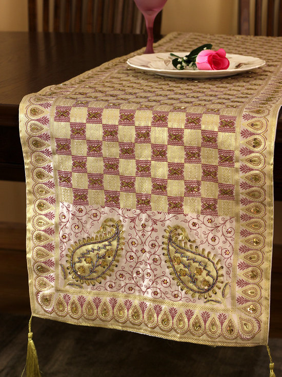 """Elegant Table Runners - Artistic table runner """"Creamy Berry"""". Very unique hand embroidered pattern with beautiful hand crafted design. Pink Gold Purple"""