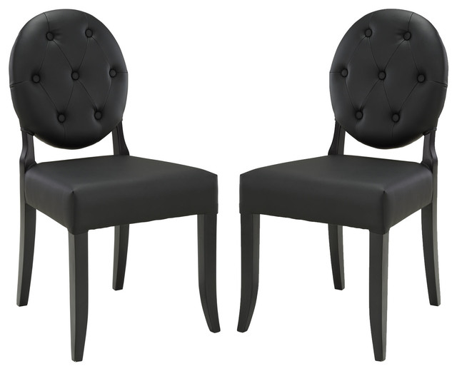 Button Dining Side Chair Set of 2 in Black modern-dining-chairs