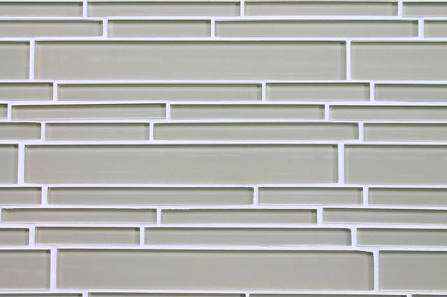 "4"" x 6"" Sample - Sheep`s Wool Light Beige Random Strip Glass Mosaic Tiles contemporary-tile"