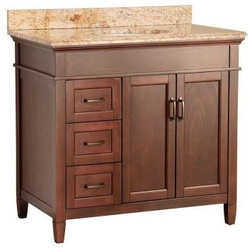 Ashburn Vanity Mahogany And Vanity Top With Stone Effects Tuscan Sun Traditional Bathroom