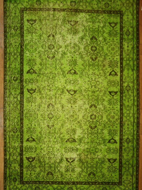 Chartreuse Green Overdyed Rug - Rich color with hints of underlying pattern revive well-loved vintage Turkish carpets into a truly fabulous area rug.