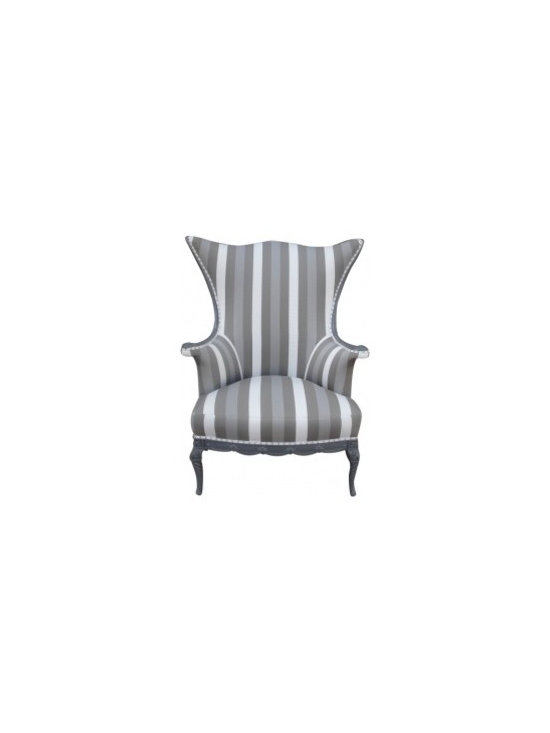 """Eco Friendly Furniture and Lighting - United States 1900's There is a pair we are calling the """"King and Queen chairs"""" which feature the same elegant striped canvas fabric in grey tones. Lacquered grey and finished with chrome nail heads all around. Work great as host and hostess chairs or for a library."""