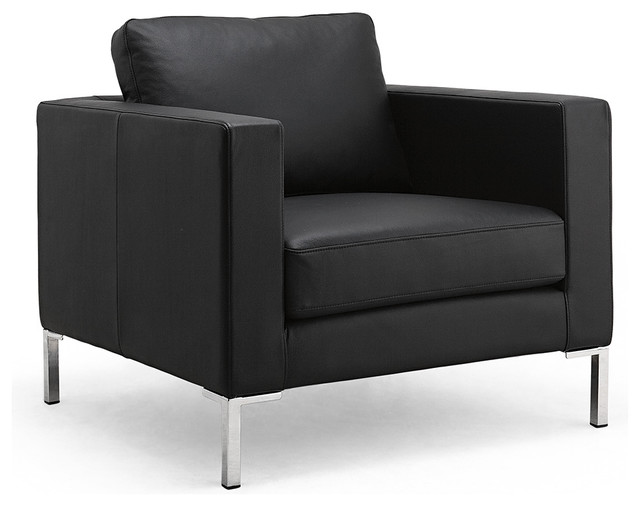 portobello black leather easy chair modern living room