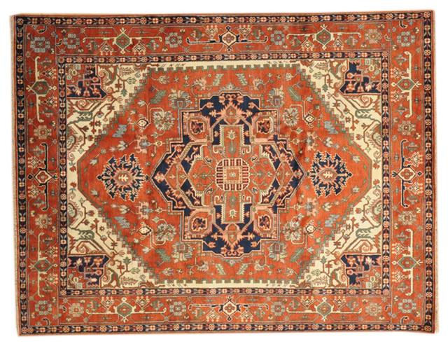 Hand Knotted Oriental Rug 8x10 100 Wool Serapi Heriz