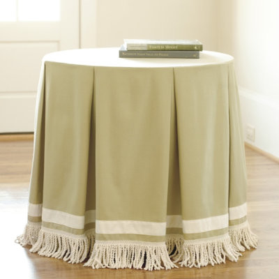 Round Pleated Party Tablecloth with Bullion Fringe traditional table linens