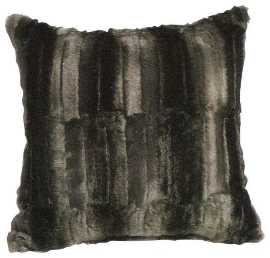 Faux-Fur Black Beaver Throw Pillow - Contemporary - Decorative Pillows - by AMB FURNITURE & DESIGN