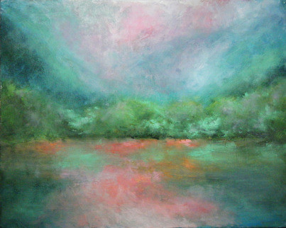 Misty Mountain Morning (Original) by Kay  Reinke contemporary-paintings